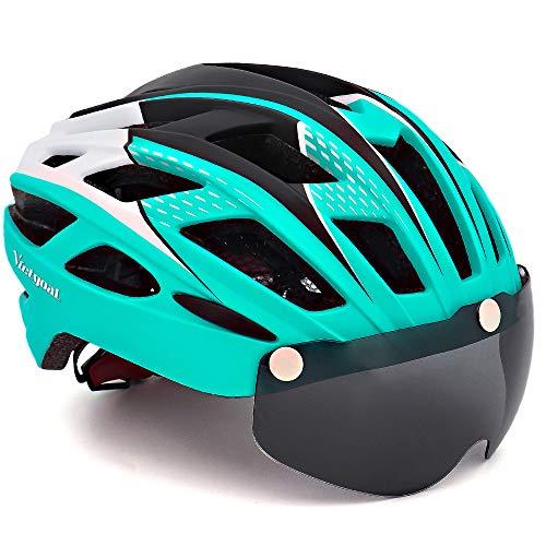 VICTGOAL Casco Bici con Visiera Protettivi Magnetici Rimovibili Casco Bici da Corsa per Adulto Uomo Donna 57-61 CM (Ciano)