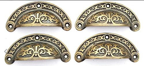 4 Antique VTG. Style Victorian Brass Apothecary Bin Pulls Handles 3' Centers #A5