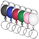 Selizo 6 Packs Retractable Badge Holder ID Carabiner Badge Reels Retractable Key Holders Keychains with Key Ring, Assorted Colors