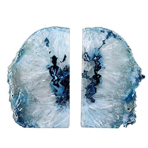 KKCD - Esculturas Sujetalibros Simple Moderno Azul natural Corte de ágata Sujetalibros Biblioteca de cristal Estantería Estantería de almacenamiento Manualidades Regalos decorativos ( Color : Blue )