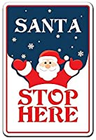 Santa Stop Here ティンサイン ポスター ン サイン プレート ブリキ看板 ホーム バーために