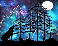 数字油絵 Diy デジタル油絵 子供 大人 初心者 50cmX40cmズ ホームインテリア-----夜のオオカミ (フレーム)