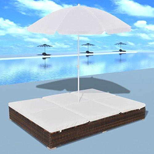 fzyhfa Chaise Longue con sombrilla (resina trenzada Marrón para casa, jardín, balcón ect