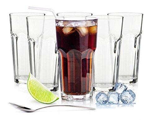 Sendez 6 Longdrinkgläser 425ml Caipirinha Gläser Kaffeegläser Teeggläser Cocktailgläser (Mit Löffel)