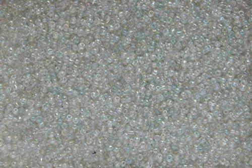 SACHET DE 20 g ENVIRON 1200 PERLES DE MINI ROCAILLES VERRE BLANC TRANSLUCIDE AVEC REFLETS DIAMETRE 2mm 12/0 - LIVRAISON GRATUITE - CREATION PERLES