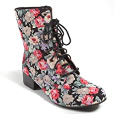 shabby chic floral combat boots