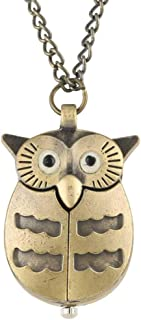 BIANGFEI Vintage Bronze Lovely Little Cute Owl Watch Nurse Fob Pocket Watches with Necklace Pendant Chain