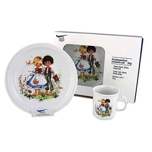 Triptis-Porzellan Hänsel und Gretel Kindergedeck, 3 teilig Kindergeschirr