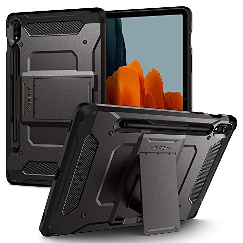 Spigen Tough Armor Pro Designed for Galaxy Tab S7 Case with S Pen Holder (2020) - Gunmetal