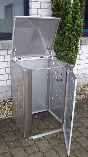 Mülltonnenbox Edelstahl, Modell Eleganza 120 Liter in RAL 9016 Weiß - 2