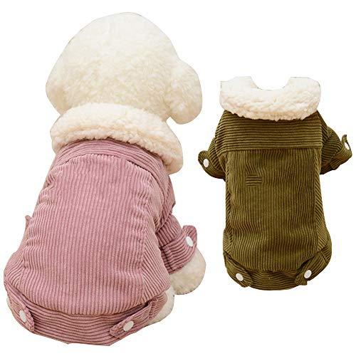 ODOKEI Ropa para Mascotas para Perro Corduroy Lambda Cachemir Abrigo para Perros pequeños medianos Chalecos de Solapa clásicos con Ropa Vintage