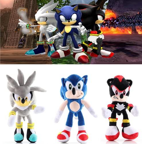 DGTJSHIBA Juego de Juguetes de Peluche Sonic, 3 Piezas Juego de Juguetes de Peluche Sonic The Hedgehog, Muñeco de Peluche clásico Hedgehog, Muñeco de Peluche Sonic Super Soft Juguetes