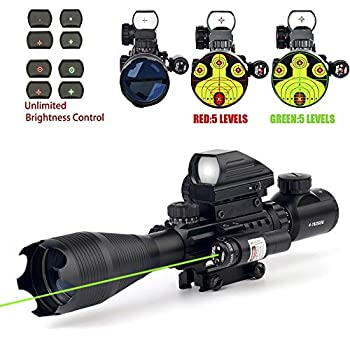 4-16x50 Tactical Rifle Scope Red/Green Illuminated Range Finder Reticle W/Red/Green Laser and Holographic Reflex Dot Sight  12 Month Warranty   Green
