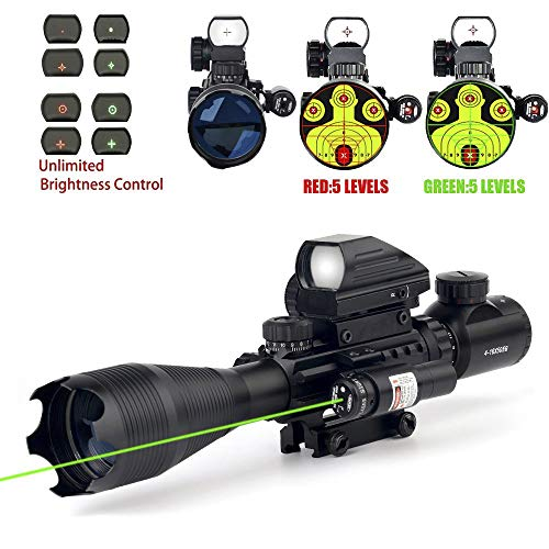 4-16x50 Tactical Rifle Scope Red/Green Illuminated Range Finder Reticle W/Red/Green Laser and Holographic Reflex Dot Sight (12 Month Warranty) (Green)