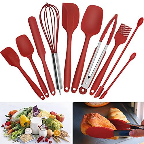 Spatole in Silicone, Utensili Cucina Silicone Set Rayeta 10 PCS Mestoli Cucina Silicone Resistente al Calore Antiaderenti per Cucina Pancake Pasticceria & Mescolare Barbecue (Rosso)
