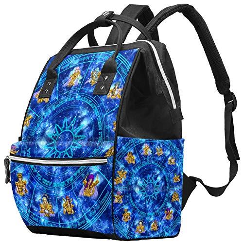 Constellation Magic Universe Space Nappy Changing Bag Diaper Sac à dos avec poches isolées, sangles de poussette, grande capacité multifonctionnel élégant sac à couches pour maman papa en plein air