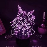 Anime ilusión Lámpara Anime Figura 3D LED Luz nocturna Danganronpa Modelado Personajes Ibuki Mioda Amigos Regalos para Niños Dormitorio Estudio Decoración