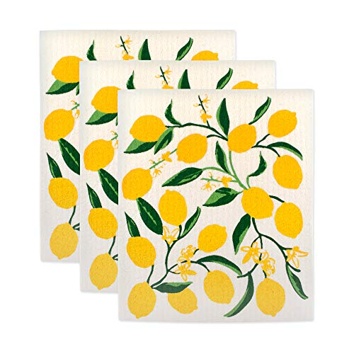 DII Swedish Dishcloth Set Cleaning Collection, 7.75x6.75, Lemons 3 Piece