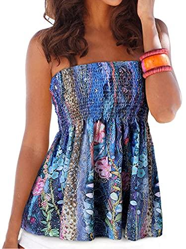 YOINS Top sexy para mujer con hombros descubiertos, diseño de flores Flores de color azul oscuro. XXL