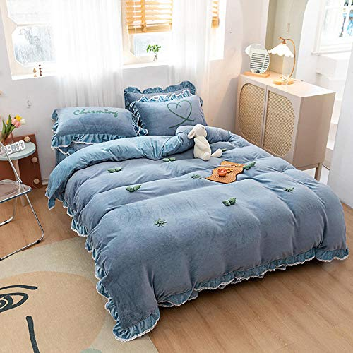 microfiber duvet cover king size,Teddy Fleece Duvet cover with Pillowcases, Thermal Warm Fleece Bedding Set in single double king superking-F_1.5m bed (3 pieces)