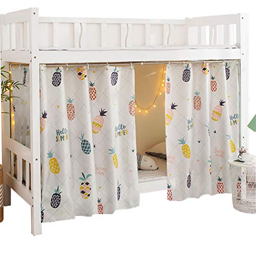 Teanea Bottom Bunk Bed Curtains Privacy Cloth Underbed Curtains for Single Bed Twin Bed, 2 Panels, Pineapple