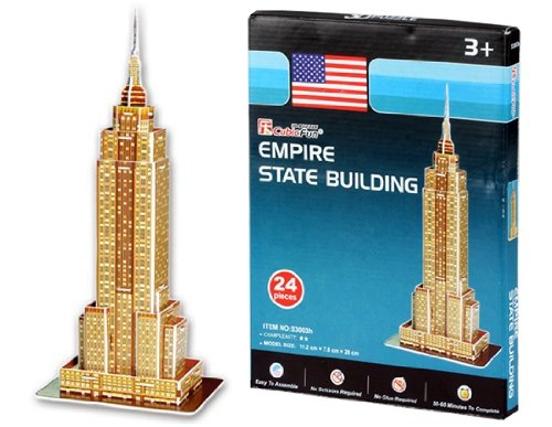JIOSJFI Cubic Fun S3003h 24 Piezas Mini Empire State Building de Papel 3D Jigsaw Puzzle