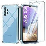 Leathlux Funda Samsung Galaxy A32 5G + 2 Pack Cristal Templado Protector de Pantalla,Carcasa Transparente Ultra Fina Suave Silicona Funda y Protector Anti-arañazos (No para el Samsung Galaxy A32 4G)