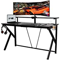 Cozuhause Large Home Office K-Shaped Gaming Desk