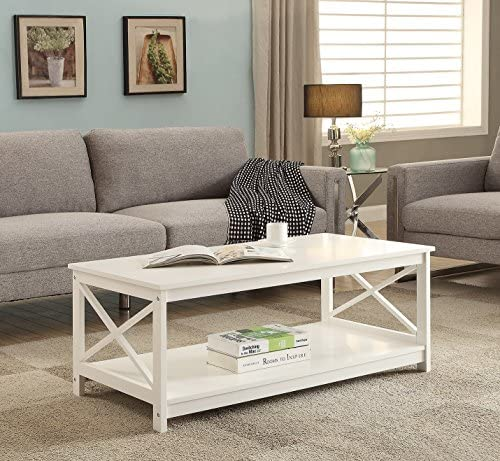 Best White Finish X-Design Wooden Cocktail Coffee Table Shelf
