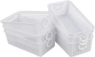 Kiddream Set of 6 Small White Baskets for Organizing Office Desktop Baskets Set