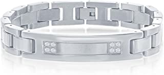 """Men's Simulated Diamond CZ ID Bar Link 8.5"""" Bracelet Rhodium Plated/Gold-Plated Stainless-Steel Jewelry for Men"""