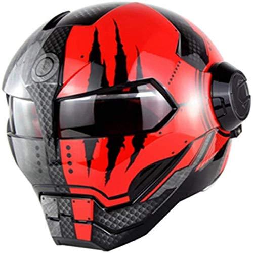 ZHXH Adult Flip-Integral-Motorradhelm Vollgesichts-Helm Motorrad DOT-zertifizierter Retro-Persönlichkeitshelm Open-Face-Helm für Männer und Frauen Street-Scooter-Fliphelm (optionaler Stil)