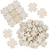 GORGECRAFT Lot de 100 puzzles vierges en bois brut, 4 x 4 cm, à emboîter pour mariage, anniversaire, calendrier de la famille, bijoux, bricolage, blanc antique