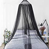 MORDEN MS Bed Canopy Netting for Single to King Size, Mosquito Net Princess Round Hoop Hanging Curtain Netting, Round Hoop Sheer Fit Crib, Twin, Full, Queen (Black)