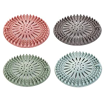 Hair Strainer for Shower,Environmental Protection Silicone Bathroom Drainage Strainer 4 Pieces,Mesh Drain Cover,Drain Hair Catcher,Kitchen Sink and Bathroom Accessories,Easy to Install and Clean
