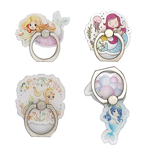 4-Pack Phone Ring Holder Stand, Cute Mermaid Unicorn Ring Stand Holder 360 Rotation Finger Grip Mount for Smartphones and Tablets (Mermaid Ring)