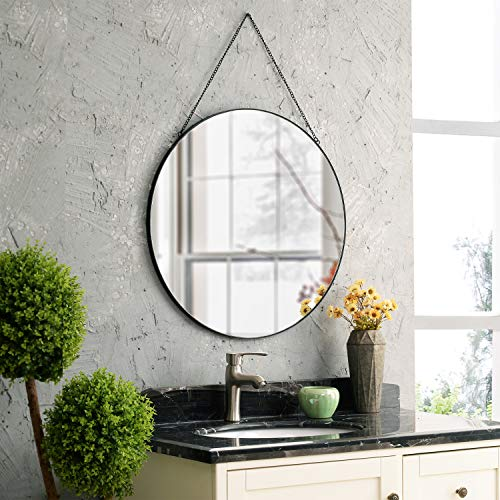 MOTINI Round Mirror Circle Wall Hanging Mirror 26 Inch, Black Metal Frame with Hanging Chain, Vanity...