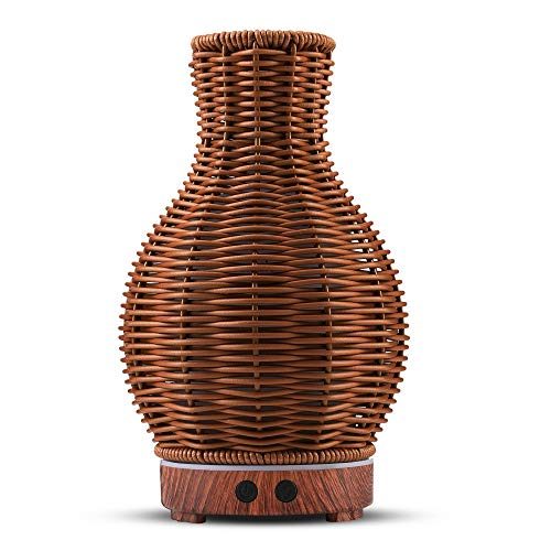 Essential Oil Diffuser, Rattan Ultrasonic Cool Mist Humidifier for Essential Oils with Waterless Auto Shut-Off Protection, Aromatherapy Diffuser Humidifier with 7 Colors Changing LED Night Light