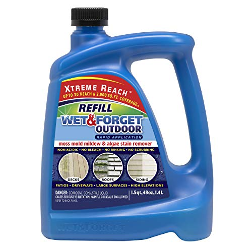 Wet & Forget Roof and Siding Cleaner for Easy Removal of Mold, Mildew and Algae Stains, Bleach-Free Formula, 48 OZ. Hose End Refill