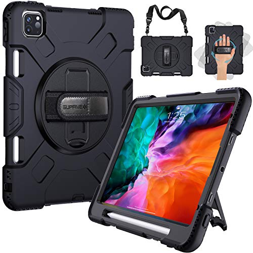 SUPFIVES iPad Pro 12.9 Case 2020 4th Generation - Apple Pencil Holder + Hand/ Shoulder Strap+ Rotatable Stand -Military Grade Heavy Duty Silicone Rugged Shockproof Case for iPad 12.9 inch 2018 (Black)