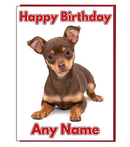 AK Giftshop Gepersonaliseerde Verjaardagskaart - Bruine Chihuahua Hond - ADD A NAME AND AGE