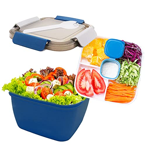 Salad BPA-Free Lunch Container,52-oz Salad Bowls with 3 Compartments,2-oz Sauce Container for Dressings,and Built-In Reusable Fork (Blue)