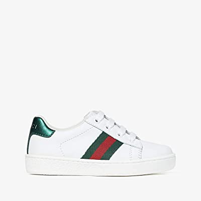 Gucci Kids New Ace Sneakers (Toddler) (White/Green) Kids Shoes