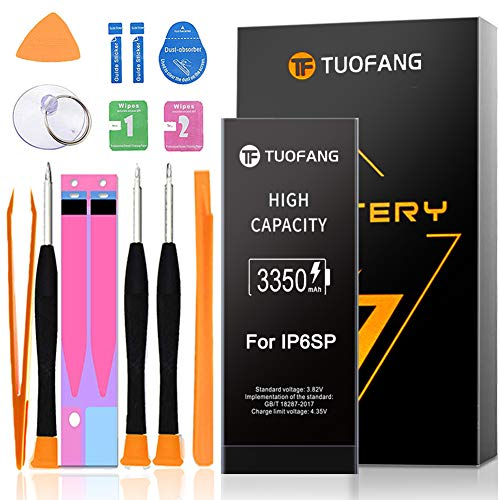 3350mAh Battery Compatible for iPhone 6S Plus, TuoFang High Capacity Lithium-ion Replacement Battery 0 Cycle,Professional Full Set Tool Kits with Instruction and Screen Protector