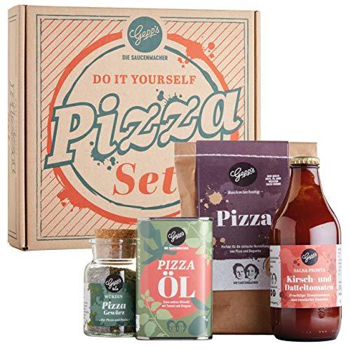 Gepp's Feinkost DIY Pizza Geschenkset I Knusprige und leckere Pizza zum Selbermachen I Pizzateig nach napolitanischer Art, Sugo aus Kirsch- und Datteltomaten, Pizzaöl und BIO Pizzagewürz (202019)