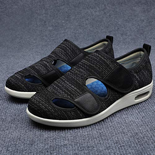 B/H Arthritis ÖDem Geschwollene Hausschuhe,Ältere Schuhe Sandalen, geschwollene Füße Schuhe mit Klappen Klettverschluss-Schwarz grau_37,Diabetiker-Schuhe FüR Herren