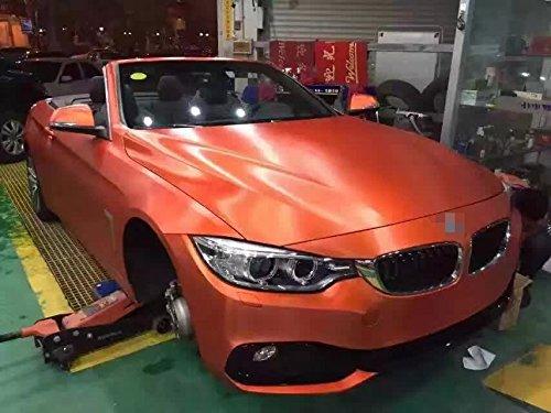 KUNFINE Design Auto Wrap Cold Brushed Orange de Voiture Film Vinyle Corps Autocollant de Voiture Wrap avec Air Gratuit Bubble pour Vehiche Tuning pièces Moto Wrap1.52 * 20 m/Rouleau Gratuit Taxes