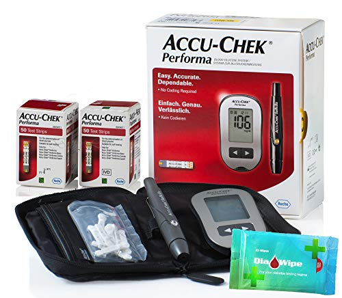 Accu Chek Performa 100 Test Strips (Very Long Expiration Dates) + Glucometer Tester Monitor Kit + Softclix + Lancets + Diabetes Wipes Finger Sterilizers Cleaners for Accurate Blood Level Results