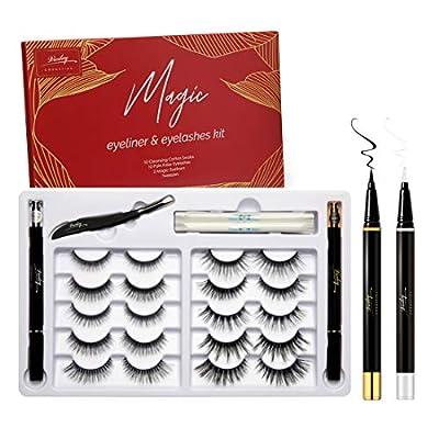 Magic Non Magnetic Lashes with Eyeliners,10 Pairs False Eyelashes...