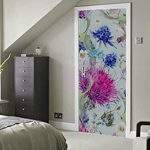 Romantische schöne Distel Blumen selbstklebende Vinyl abnehmbare Home Wallpaper Tür Wandbild Wallpaper 30x79 Zoll (77x200cm) 2 Stück